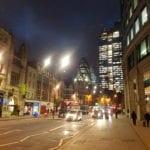 London at night Gherkin